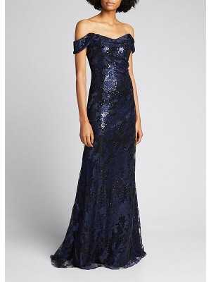 Rene Ruiz Off-the-Shoulder Embroidered Gown with Sequins