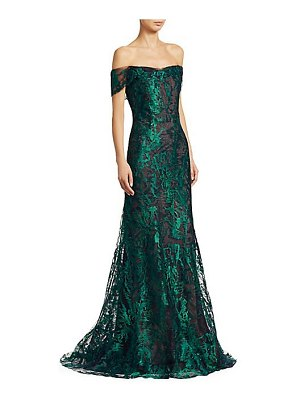 Rene Ruiz Collection off-the-shoulder lace gown