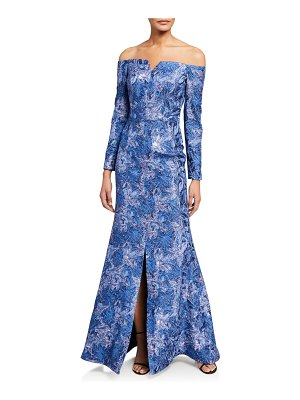 Rene Ruiz Off-the-Shoulder Long-Sleeve Lace Gown w/ Front Slit