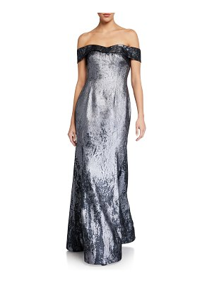 Rene Ruiz Off-the-Shoulder Metallic Jacquard Mermaid Gown