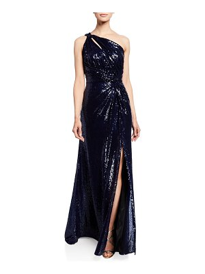 Rene Ruiz Sequin One-Shoulder Gown with Ruched Bodice