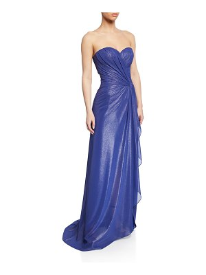 Rene Ruiz Strapless Shirred Bustier Gown with Side Drape
