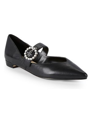 RENVY Leather Point Toe Embellished Flats