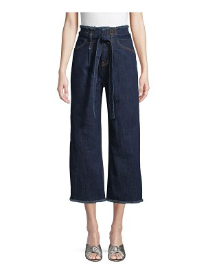 RENVY Paperbag Cropped Wide-Leg Jeans