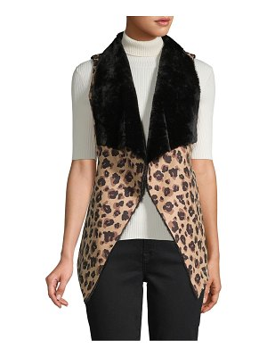 RENVY Reversible Faux Shearling and Faux Suede Leopard-Print Vest