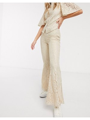 Résumé resume tawny lace flared pants in sand-brown