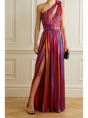 Retrofête andrea one-shoulder belted dégradé stretch-lamé maxi dress