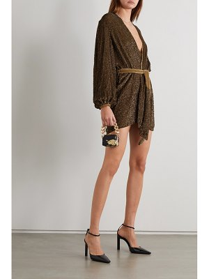 Retrofête gabrielle belted sequined chiffon wrap mini dress