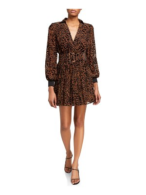 retrofete Layla Leopard-Print Belted Dress