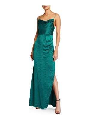 retrofete Marlene Embellished Cowl-Neck Slit Dress