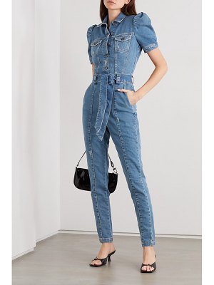 Retrofête tori belted distressed denim jumpsuit