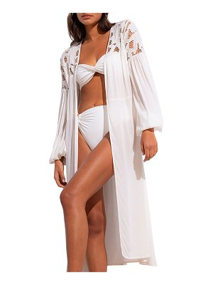 Revel Rey Andie Balloon-Sleeve Duster w/ Embroidery