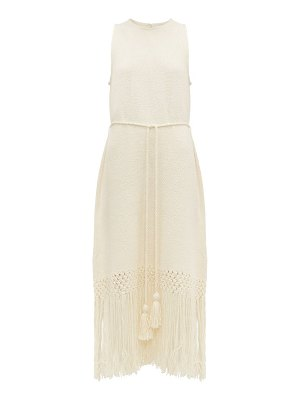 Rhode aaliyah tasselled cotton midi dress