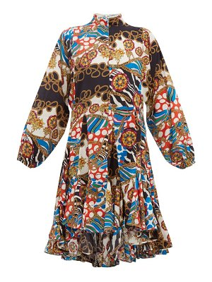 Rhode adeline godet hem printed cotton dress