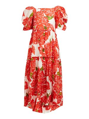 Rhode aurora rose print voile midi dress