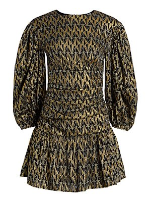Rhode donna metallic print puff-sleeve mini dress