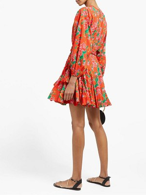 Rhode ella floral-print cotton-voile mini dress