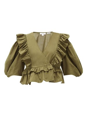 Rhode elodie ruffle-trimmed cotton-voile blouse