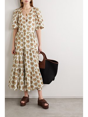 Rhode gina tiered printed cotton wrap midi dress