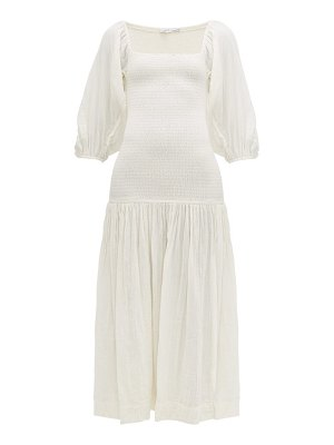 Rhode harper shirred cotton gauze dress