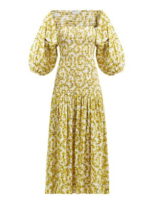 Rhode harper shirred floral print cotton midi dress