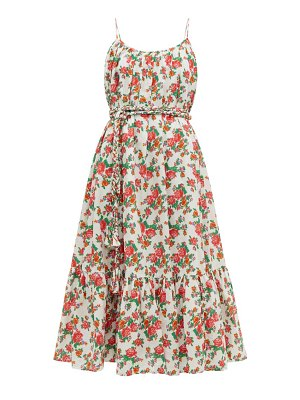 Rhode lea floral print cotton voile midi dress