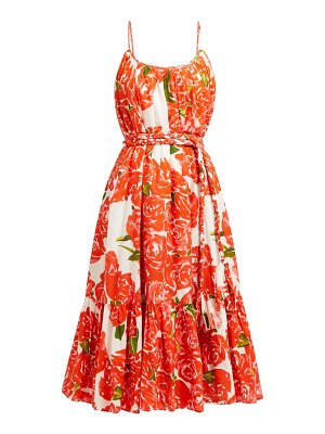 Rhode lea floral print tiered cotton poplin dress