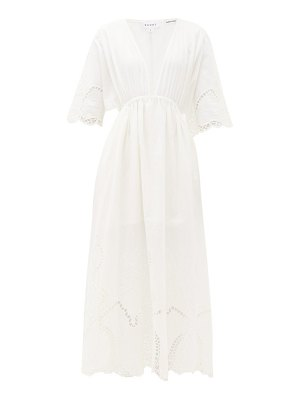 Rhode liam plunge-neck broderie-anglaise cotton dress