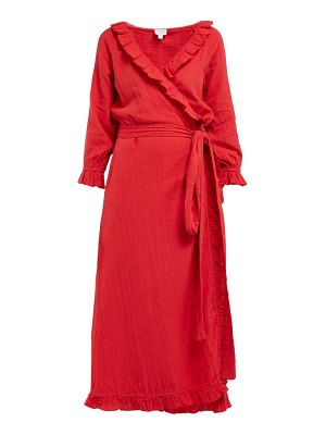 Rhode jagger ruffled cotton gauze wrap dress