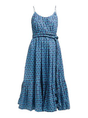 Rhode lea belted abstract print cotton midi dress
