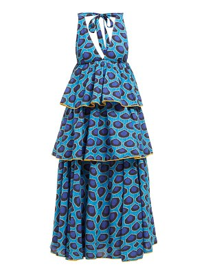 Rhode leela tiered abstract print cotton midi dress