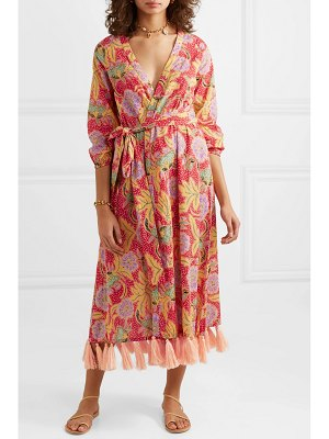 Rhode Resort lena tasseled printed cotton-voile wrap maxi dress