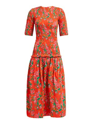 Rhode zola shirred floral print cotton midi dress