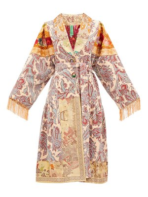 RIANNA + NINA vintage patchwork embroidered-velvet robe coat