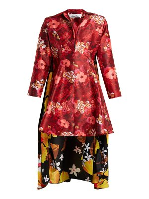 RICHARD QUINN Floral Print Asymmetric Hem Duchess Satin Dress