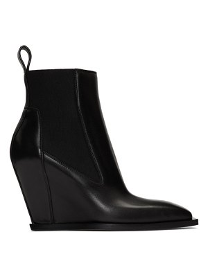 Rick Owens black leather sharp wedge boot