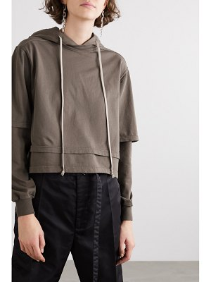 Rick Owens hustler cropped layered cotton-jersey hoodie