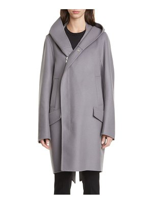 Rick Owens slab hooded long wool & nylon coat