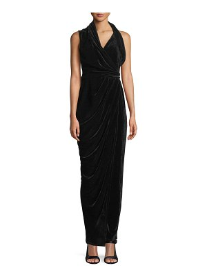 Rick Owens Sleeveless Draped Wrap Velvet Long Dress