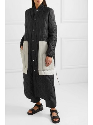 Rick Owens suede and wool-trimmed quilted shell coat