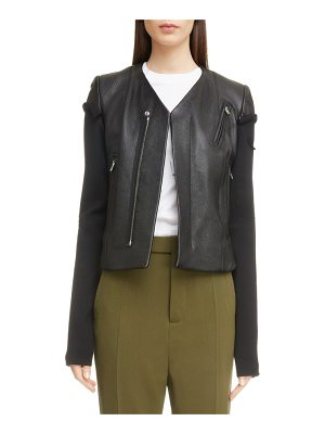 Rick Owens v-neck leather biker jacket