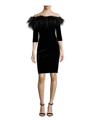 Rickie Freeman for Teri Jon 3/4-Sleeve Feather-Trim Off-the-Shoulder Velvet Cocktail Dress