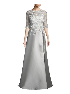 Rickie Freeman for Teri Jon 3D Embroidery Floral A-Line Gown