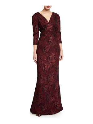 Rickie Freeman for Teri Jon Draped V-Neck 3/4-Sleeve Stretch Jacquard Gown