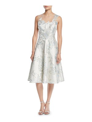 Rickie Freeman for Teri Jon Floral Jacquard Tulle-Yoke Cocktail Dress