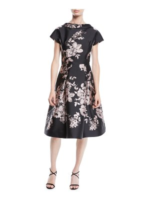 Rickie Freeman for Teri Jon High-Neck Cap-Sleeve Fit-and-Flare Floral-Jacquard Cocktail Dress