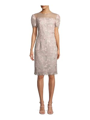 Rickie Freeman for Teri Jon Illusion Lace Short-Sleeve Sheath Cocktail Dress