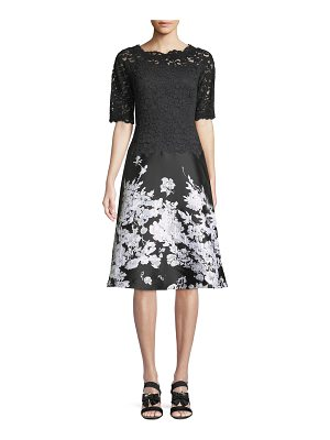 Rickie Freeman for Teri Jon Lace Cocktail Dress w/ Printed Floral Skirt
