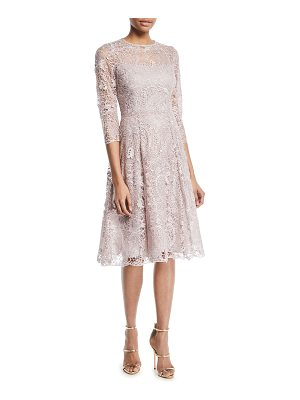 Rickie Freeman for Teri Jon Long-Sleeve Lace Fit-and-Flare Cocktail Dress