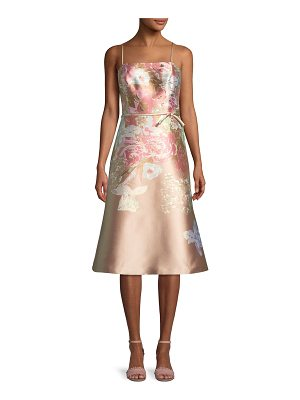 Rickie Freeman for Teri Jon Metallic Floral Sleeveless Cocktail Dress